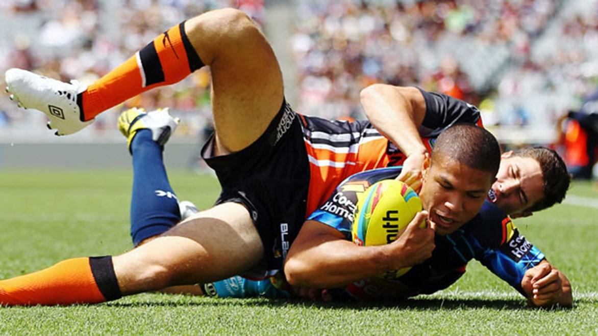 David Mead was terrific at the Auckland Nines but now has just 40 minutes to find a new centre to partner him on the Titans' right side. Copyright: www.photosport.co.nz