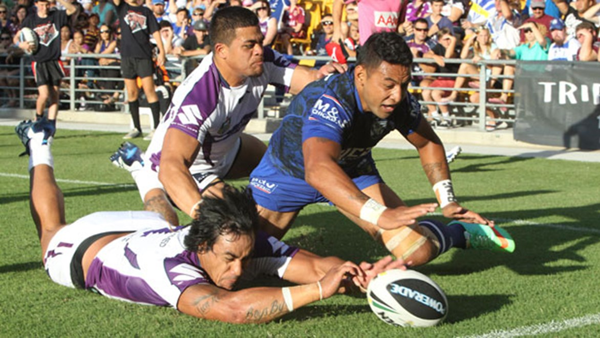 Mahe Fonua scored a try for the Storm but the Dogs called the shots as they defeated Melbourne 20-10 on Sunday night.