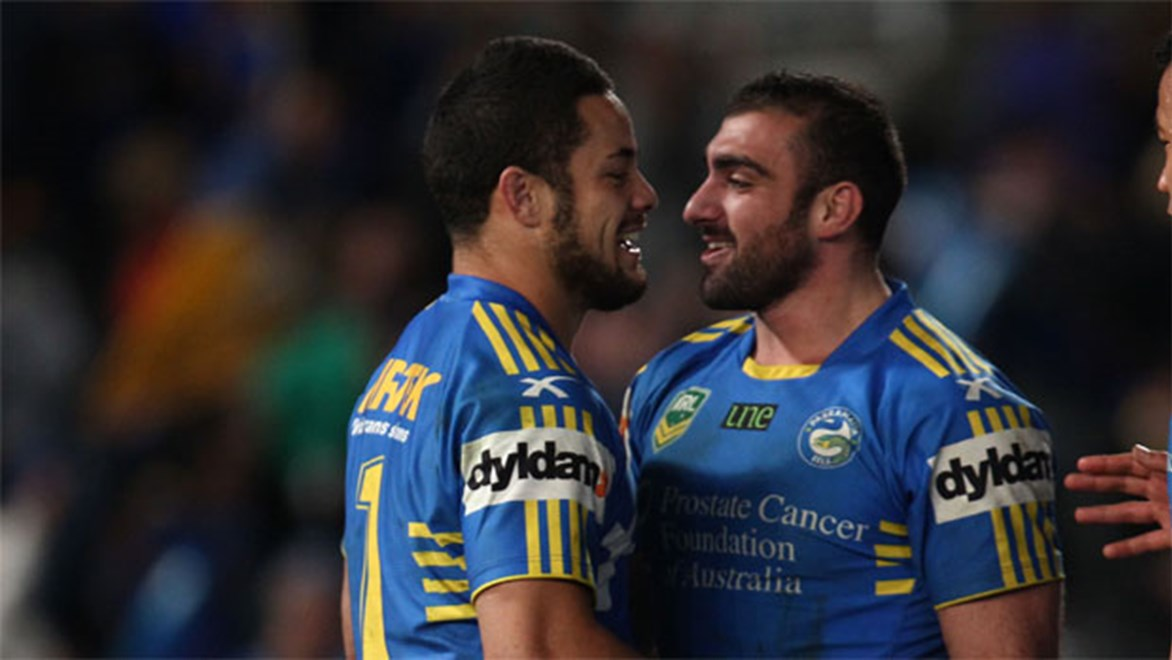 Tim Mannah and Jarryd Hayne will co-captain the team in 2014. Copyright: NRL Photos/Colin Whelan.