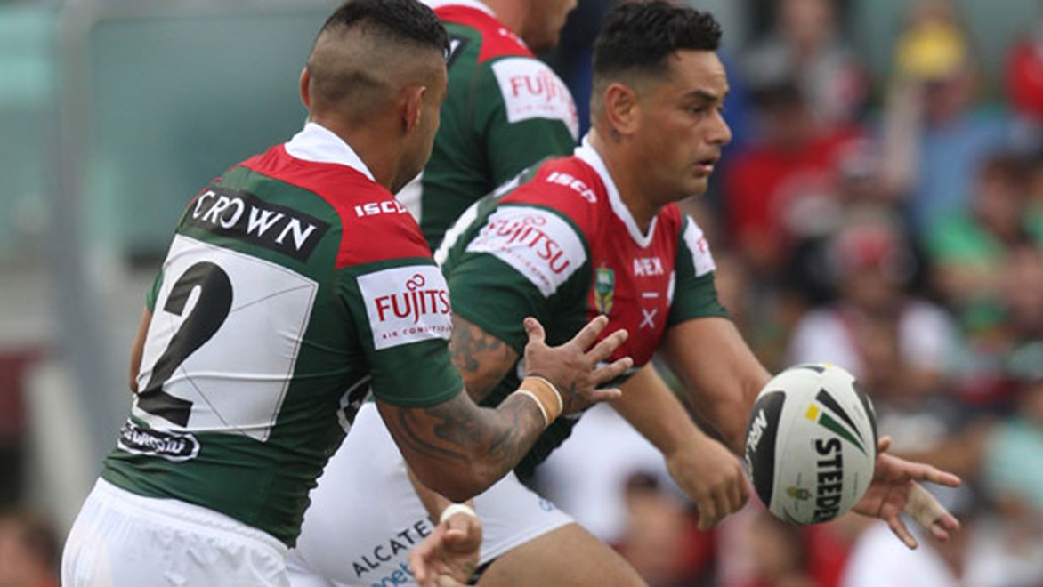 Souths skipper John Sutton wants under-a-cloud halves pairing Adam Reynolds and Dylan Walker given until Thursday to prove they are fit to take on the Roosters. Copyright: Col Whelan / NRL Photos.
