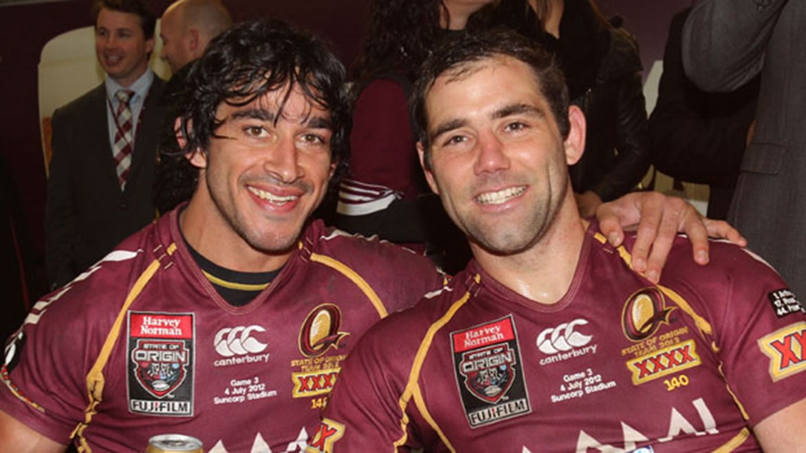 Saturday night's heroics further emphasised the influence of close friends Johnathan Thurston and Cameron Smith. Copyright: Col Whelan/NRL Photos