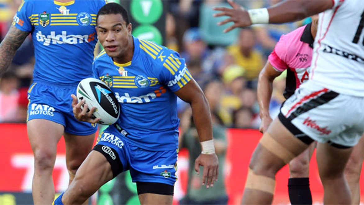 Will Hopoate in action during his comeback NRL game on debut for the Eels. Copyright: Grant Touville/NRL Photos