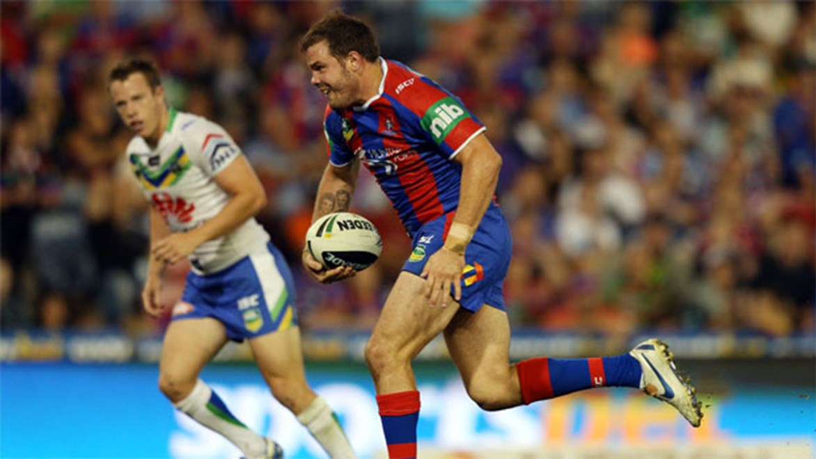 Knights prop Adam Cuthbertson scored his only two tries of 2013 against the Raiders. Copyright: NRL Photos/Renee McKay.