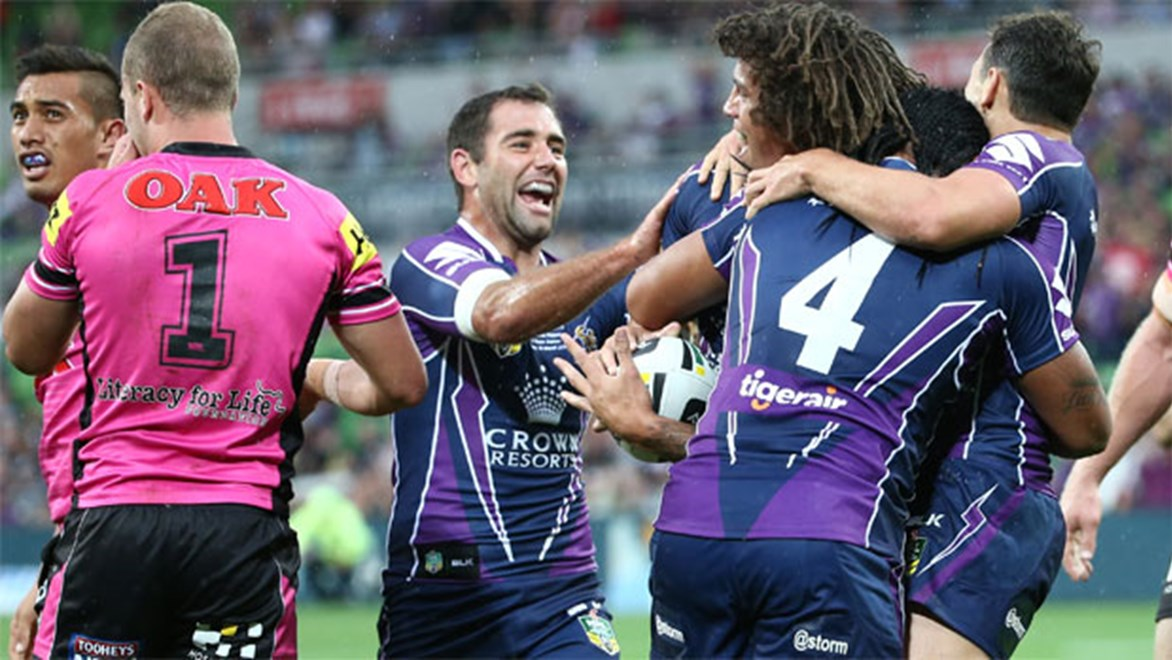 The new rules changes that saw the clock stopped in the closing stages of the Storm's nail-biting win over the Panthers worked a treat. Copyright: Brett Crockford/NRL Photos.