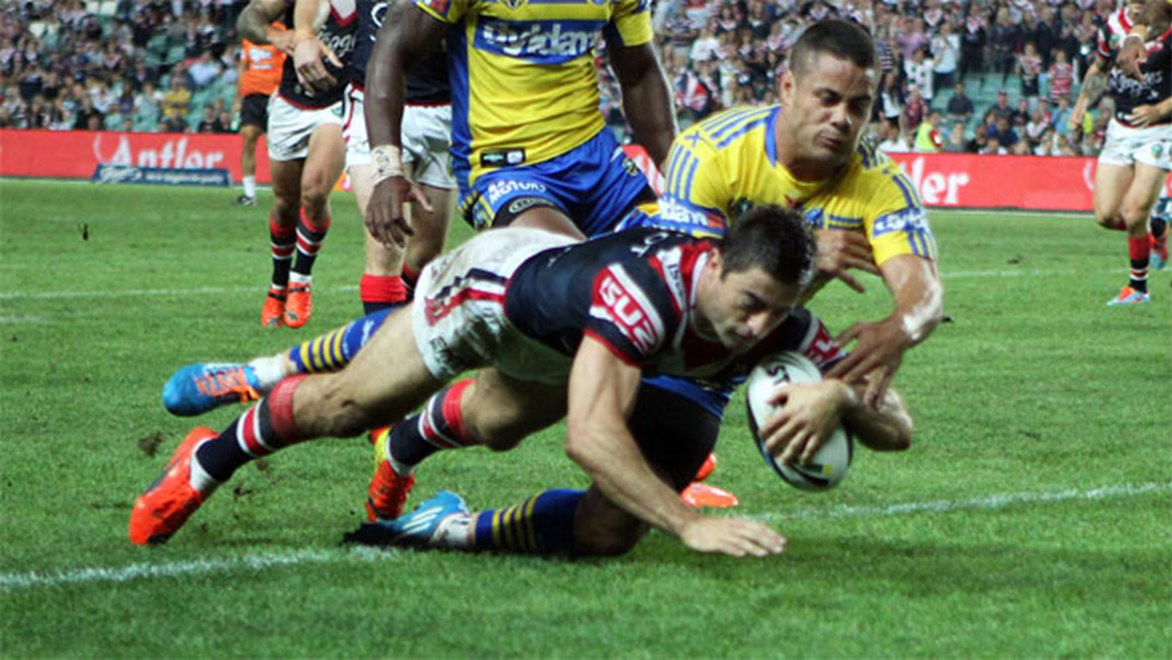 Anthony Minichiello finds the tryline during the Roosters' rout of Parramatta on Saturday night. Copyright: Grant Trouville/NRL Photos.