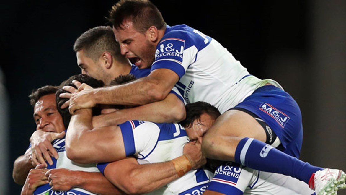 Josh Reynolds inspired the Bulldogs to a devastating victory over the Sharks at ANZ Stadium. Copyright: Grant Trouville / NRL Photos.