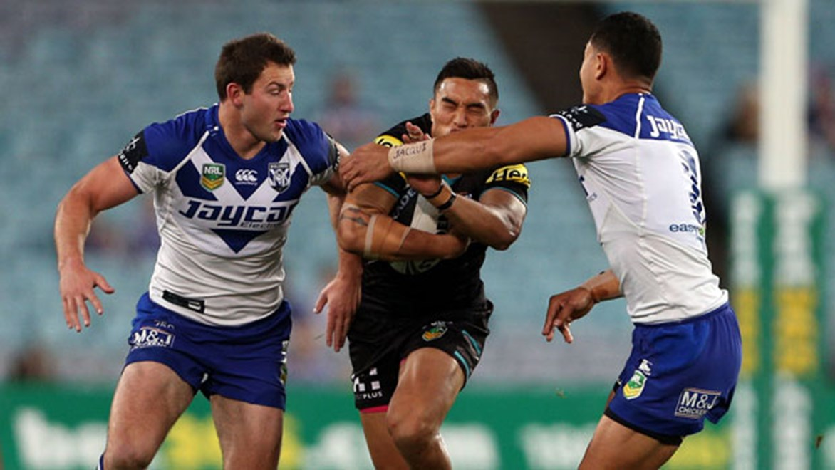 Panthers centre Dean Whare attacks the Bulldogs defence during their clash late last season. Copyright: NRL Photos
