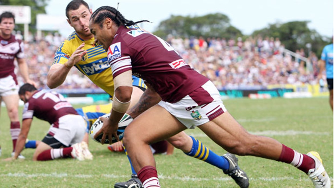 Steve Matai's try at the death showed the Sea Eagles have unshakable self-belief. Copyright: Robb Cox/NRL Photos.