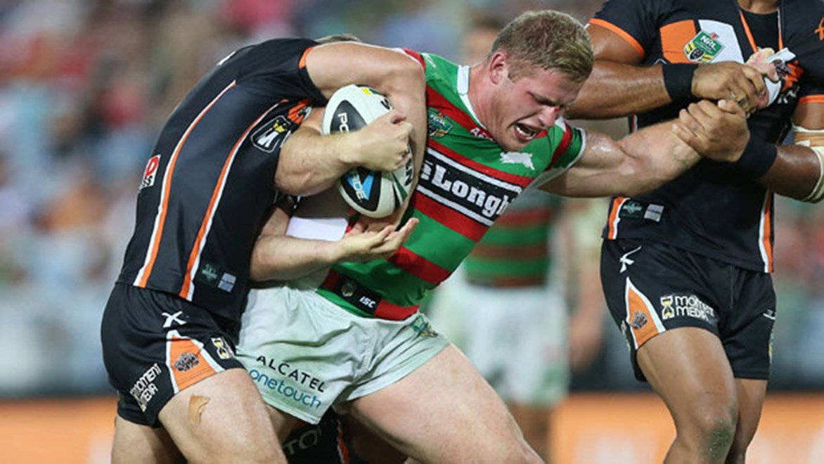 South Sydney prop George Burgess is free to take on the Raiders on Sunday. Copyright: NRL Photos/Robb Cox.