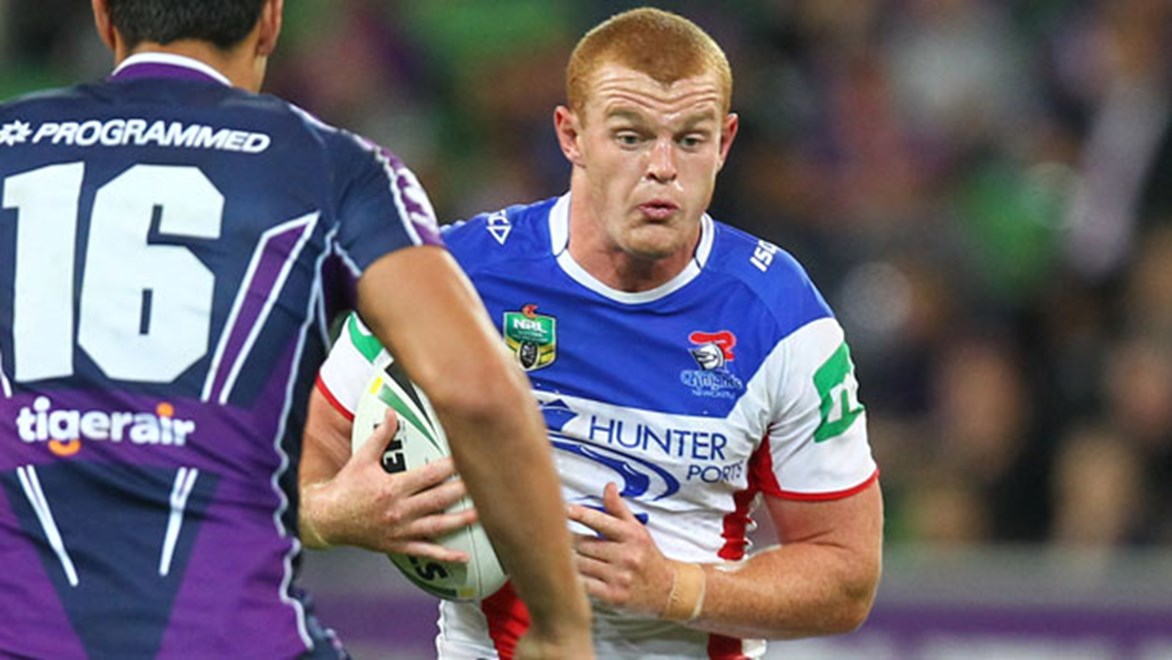 Knights forward Alex McKinnon remains in hospital after he was taken from the field on a stretcher in Monday night's loss to the Storm. Copyright: Ian Knight/NRL Photos