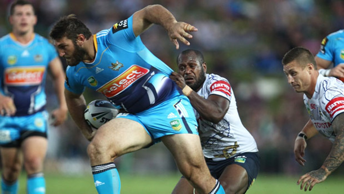Titans big man Dave Taylor will look to make an impact against the Cowboys in the all-Queensland derby on Monday night. Copyright: Colin Whelan/NRL Photos.