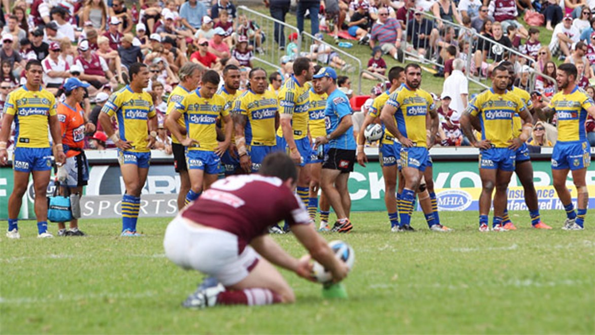 So close yet so far... Eels players were heartbroken after last week's loss to Manly. Copyright: NRL Photos/Robb Cox.