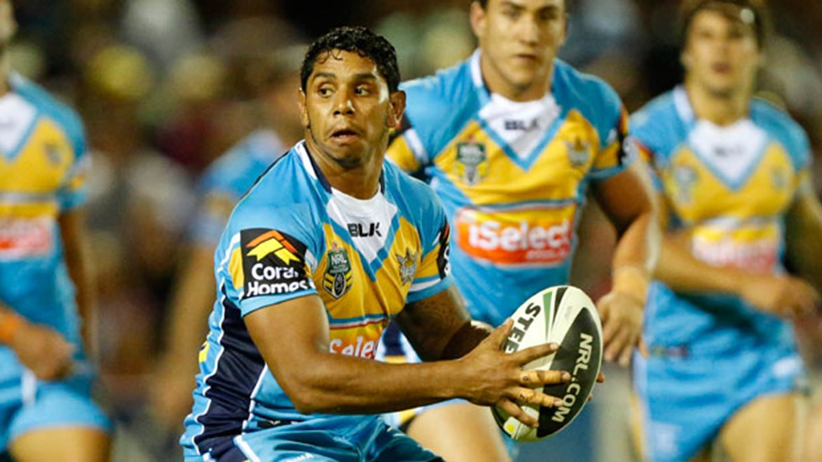 Albert Kelly has lit up the NRL in the first three weeks but Titans teammate Nate Myles says he can be even better. Copyright: Charles Knight/NRL Photos