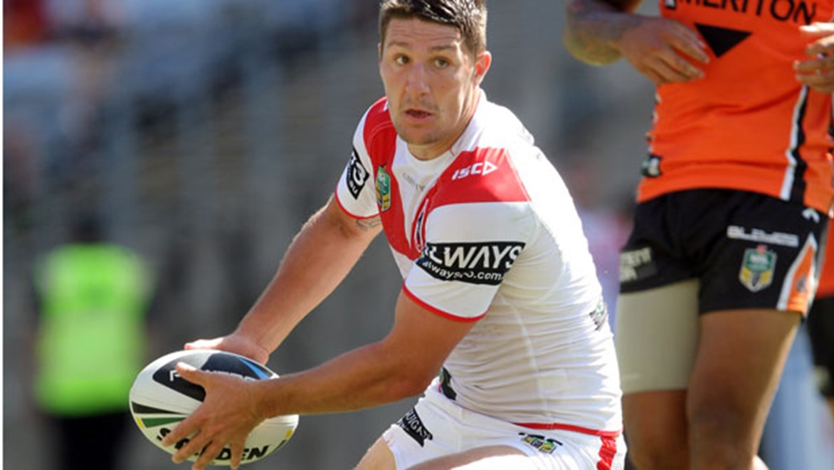 Gareth Widdop has ignited the Dragons' attack; he leads all players with six try assists so far in 2014. Copyright: Robb Cox/NRL Photos.