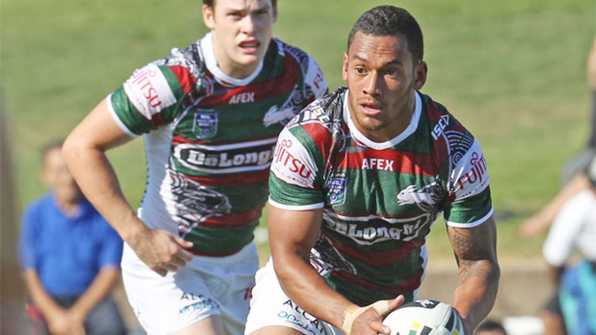 Rabbitohs and Fiji hooker Apisau Koroisau, in action during this year's trials, could challenge for Issac Luke's starting spot this year. Copyright: Colin Whelan/NRL Photos.
