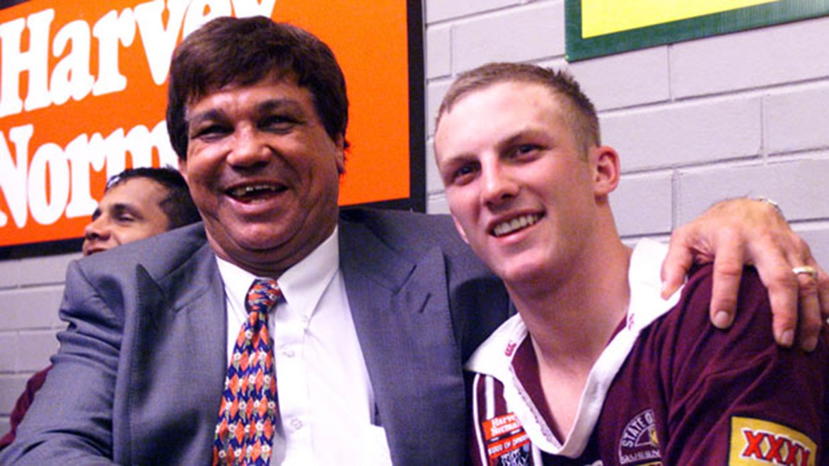 Arthur Beetson left an indelible impression on the greats to have worn the Maroons jersey, including Darren Lockyer here in 1998. Copyright: Col Whelan/NRL Photos