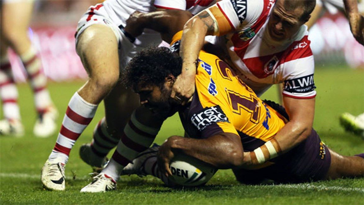 Sam Thaiday scores for the Broncos against St George Illawarra on Friday night. Copyright: Robb Cox/NRL Photos.