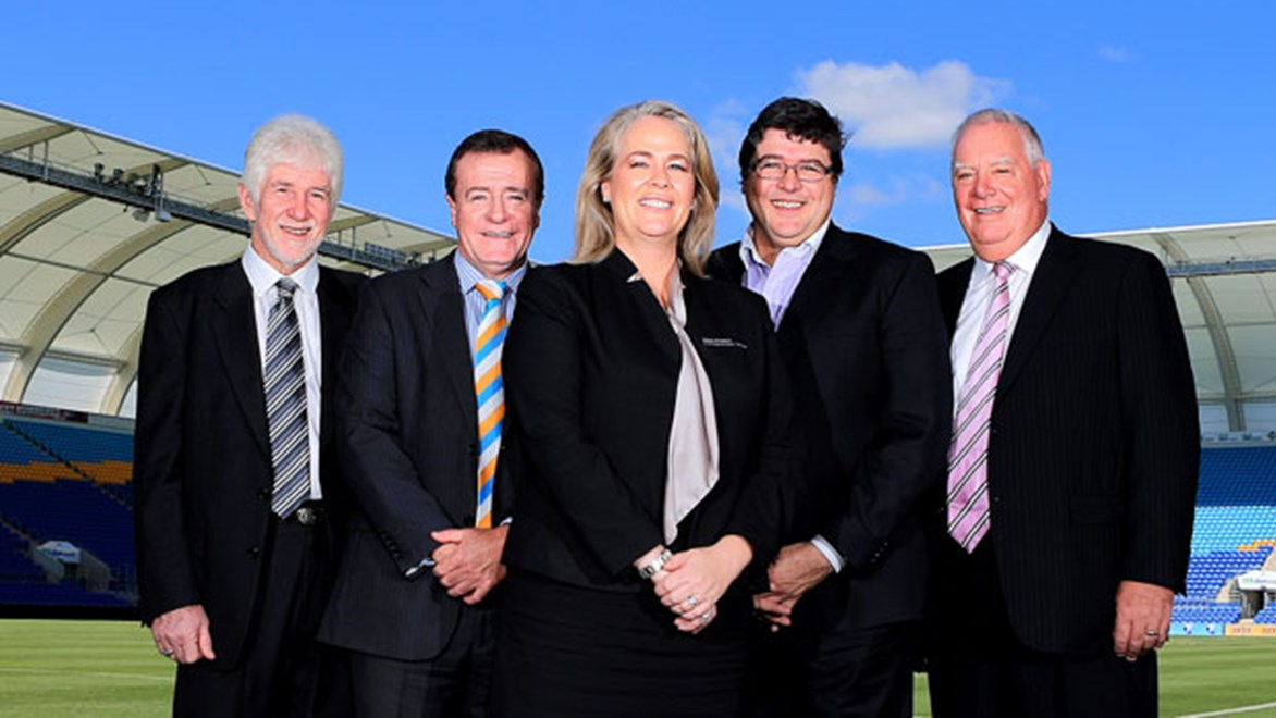 Rebecca Frizelle has joined the Titans as their new chairman and will head a four-person board that includes Darryl Kelly (far left), Michael Searle and Paul Donovan (right). CEO Graham Annesley (second from left) will not sit on the board. Copyright: Courtesy Titans Media