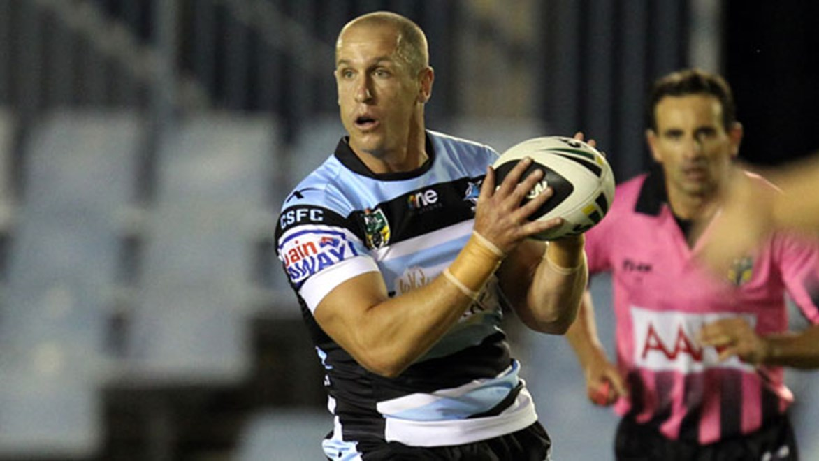Sharks halfback Jeff Robson was set to return from facial fractures to face the Warriors on Saturday - yet is now in doubt with a calf injury. Copyright: NRL Photos
