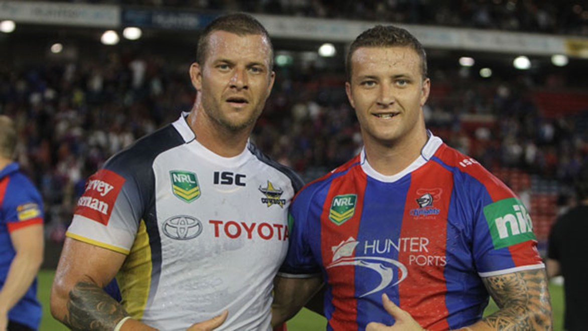 A less hirsute Ashton Sims (left) and little brother Korbin Sims following Korbin's NRL debut against the Cowboys last year. Copyright: Col Whelan/NRL Photos