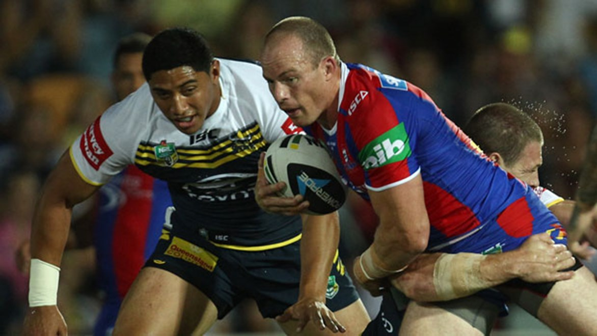 Beau Scott was a constant menace to the Cowboys defence but the Knights suffered a 28-2 defeat in Townsville. Copyright: Col Whelan/NRL Photos