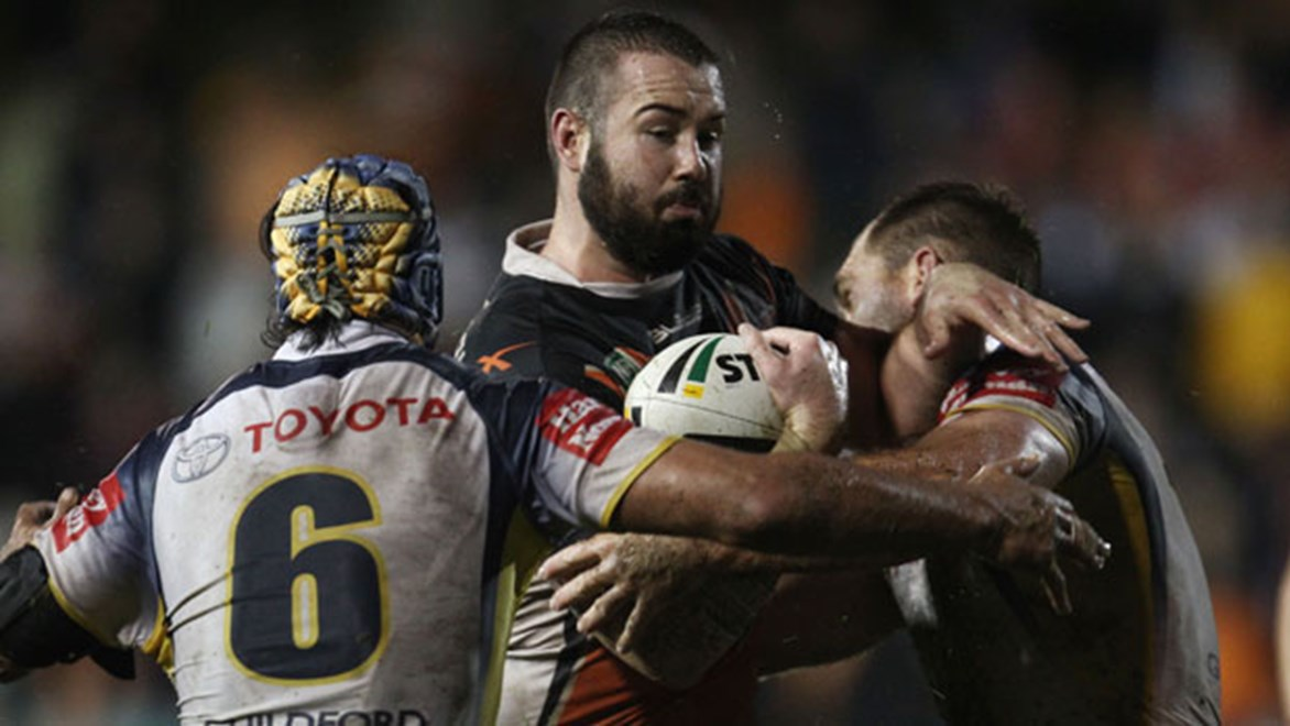 Aaron Woods's status as the form front-rower of the competition gets its ultimate test against the Cowboys' Test pair. Copyright: Col Whelan/NRL Photos