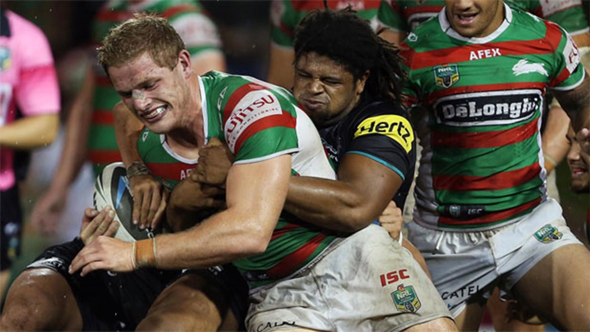 Penrith tried hard but the Rabbitohs' outstanding defence proved the difference. Copyright: Robb Cox/NRL Photos.