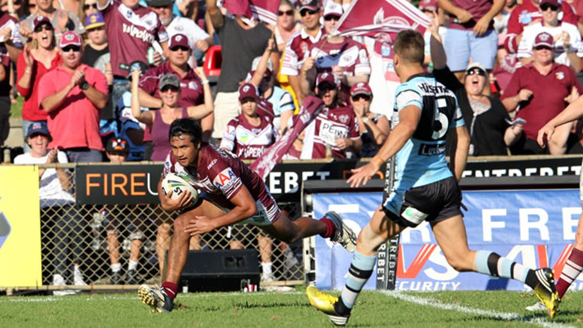 Peta Hiku will be eager to add to his season tally of just one try for the Sea Eagles from five games. Copyright: Grant Trouville/NRL Photos