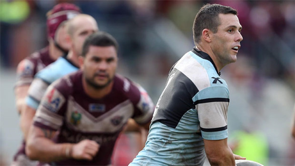Sharks fullback Michael Gordon was strong on a losing team on Sunday. Copyright: NRL Photos/Robb Cox.