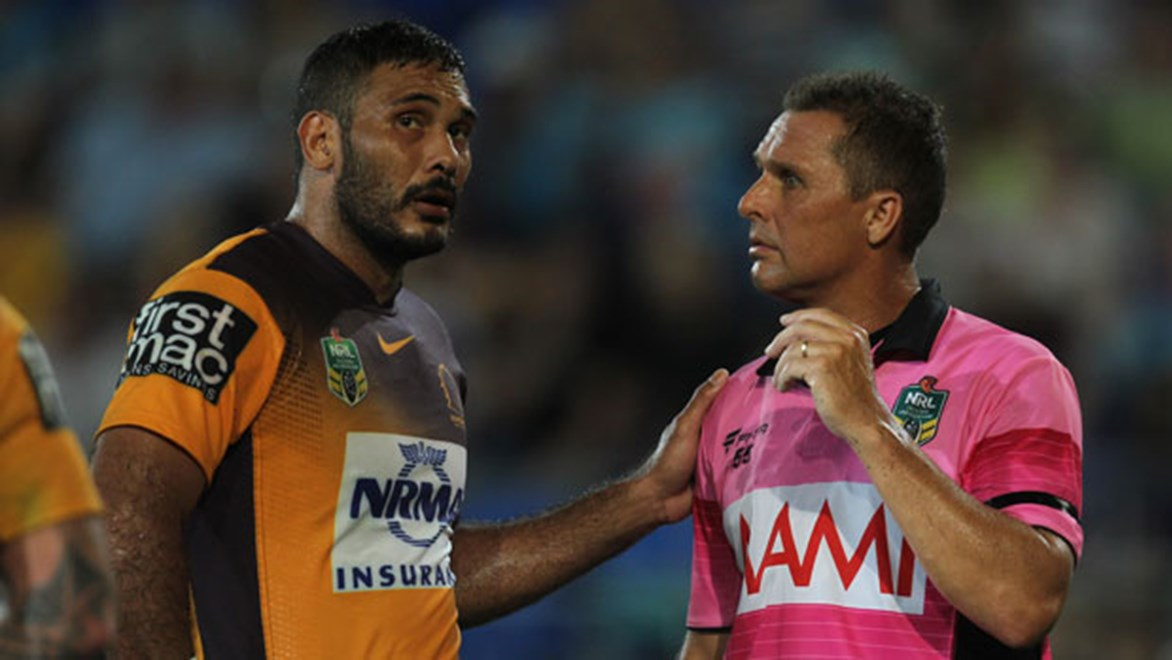 Once a dissenter, Justin Hodges is now a mediator with officials as co-captain of the Broncos. Copyright: Col Whelan/NRL Photos