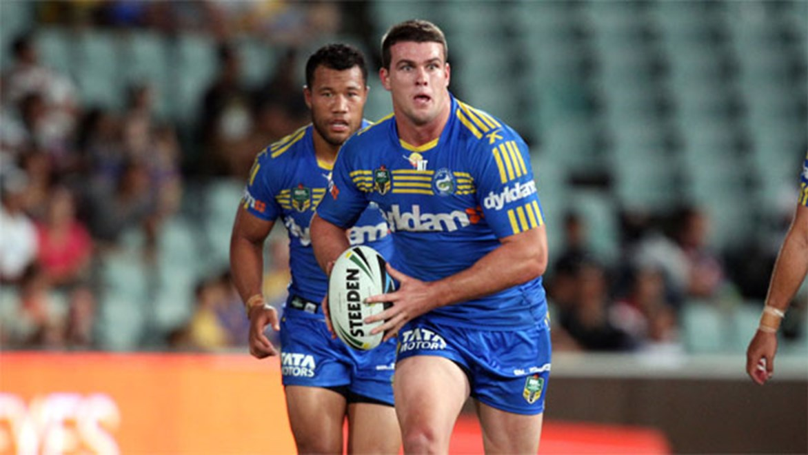 Eels prop Darcy Lussick returns from suspension in time for a Tigers ambush. Copyright: NRL Photos/Grant Trouville.