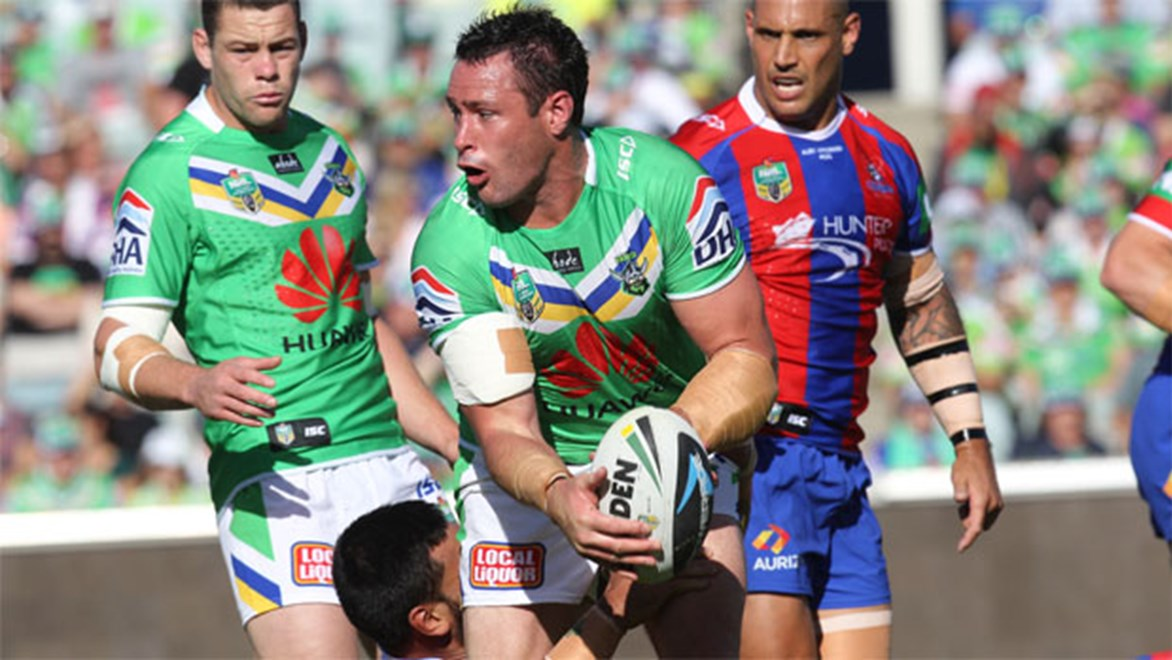 Raiders prop Brett White is adamant the team has no scars from the one that got belted 68-4 against Melbourne last year. Copyright: NRL Photos/Colin Whelan.
