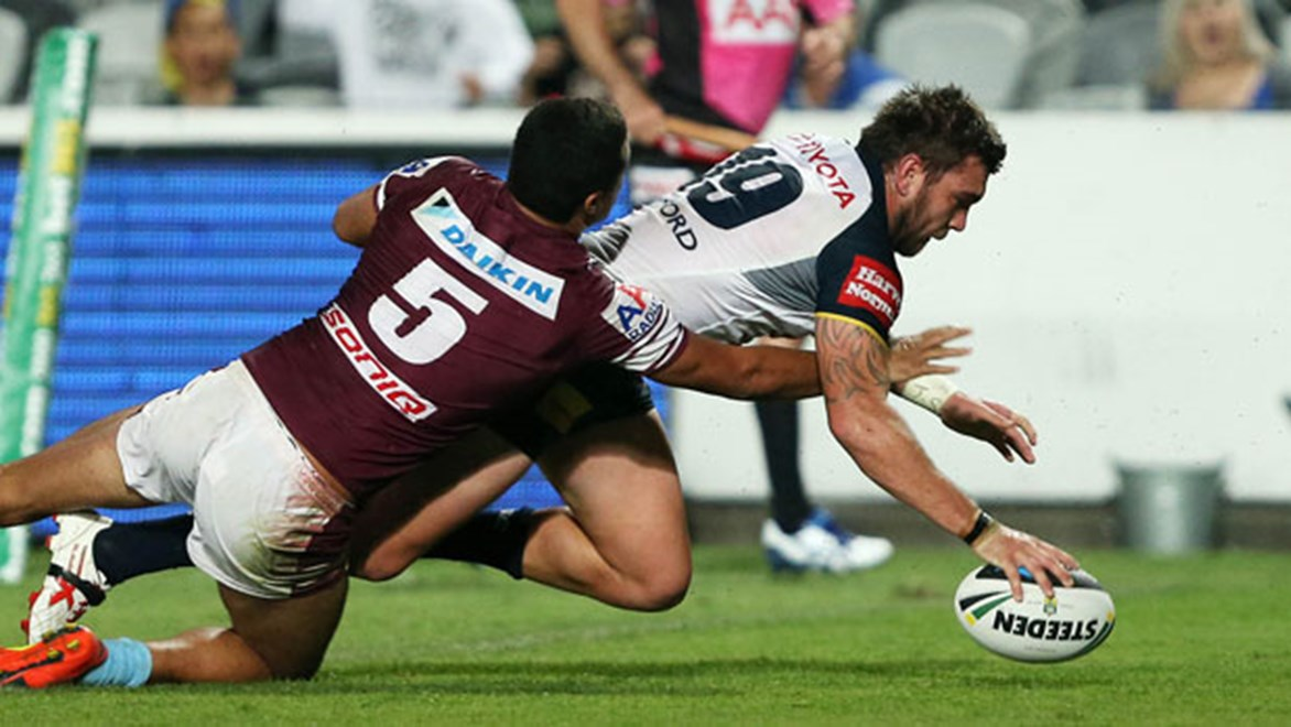 Cowboys winger Kyle Feldt marked his return to the top grade with a spectacular four-pointer against the Sea Eagles in Gosford.