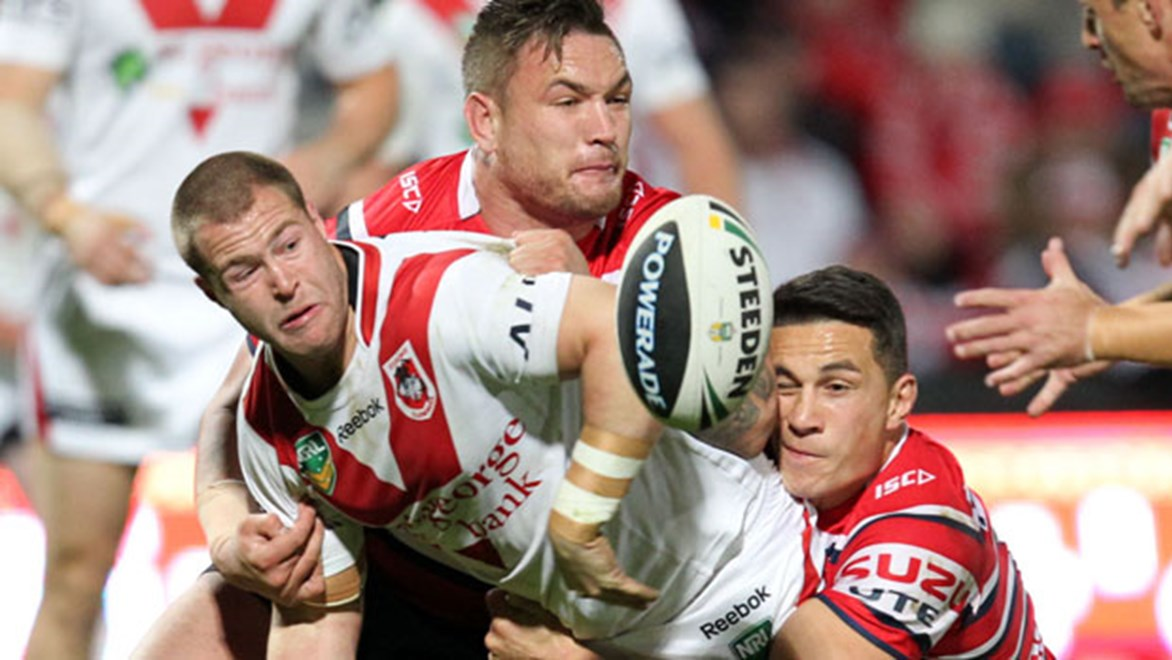 Origin hopeful Trent Merrin plays his 100th game in the Red V jersey against the Roosters on Anzac Day.
