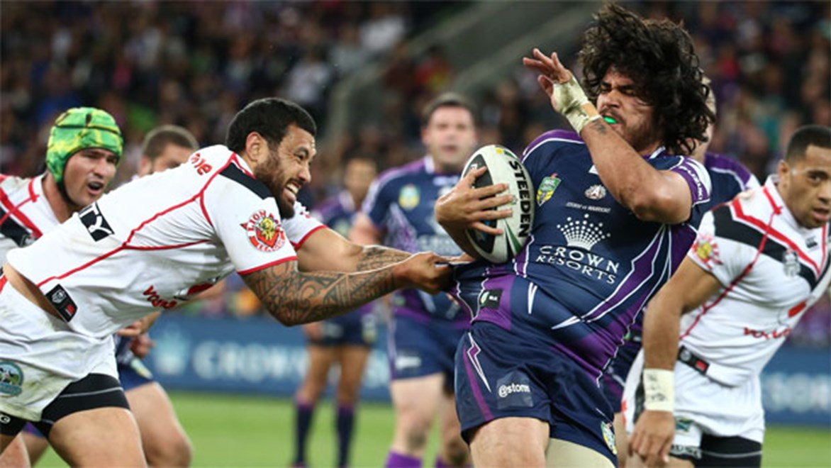Tohu Harris in action for Melbourne against the Warriors on Anzac Day.