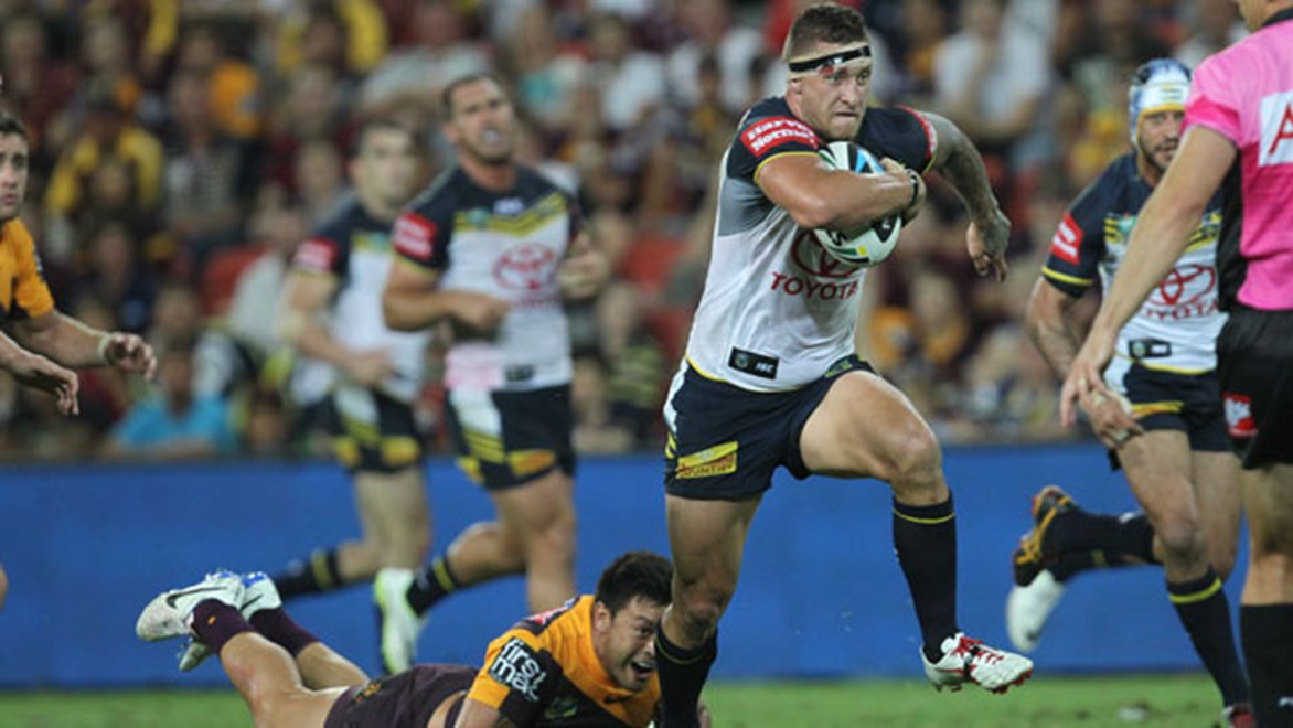 North Queensland Cowboys forward Tariq Sims has been named to play the Brisbane Broncos on Friday night despite suffering an ankle injury in last weekend's City-Country.