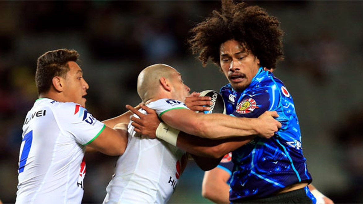 Sione Lousi charges into the Canberra defence during their Round 9 clash at Eden Park.