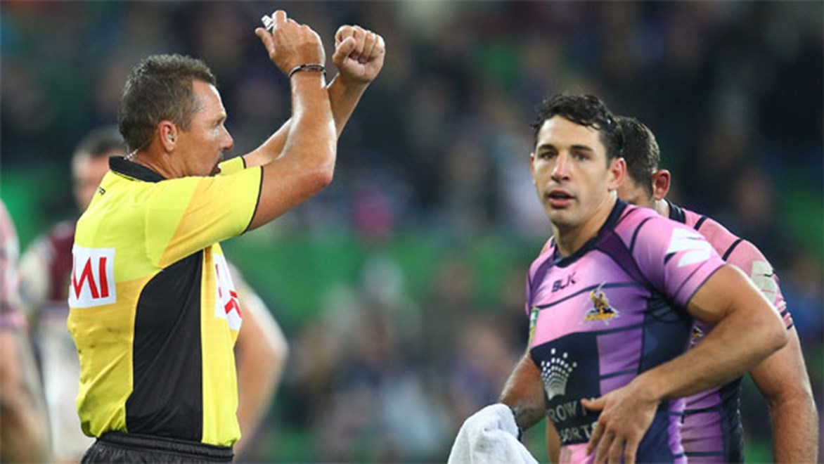 Billy Slater was put on report for making high contact with Manly winger David Williams on Saturday night.