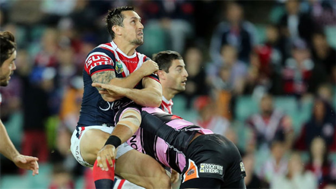 Roosters halfback Mitchell Pearce in action against the Tigers on Friday night.