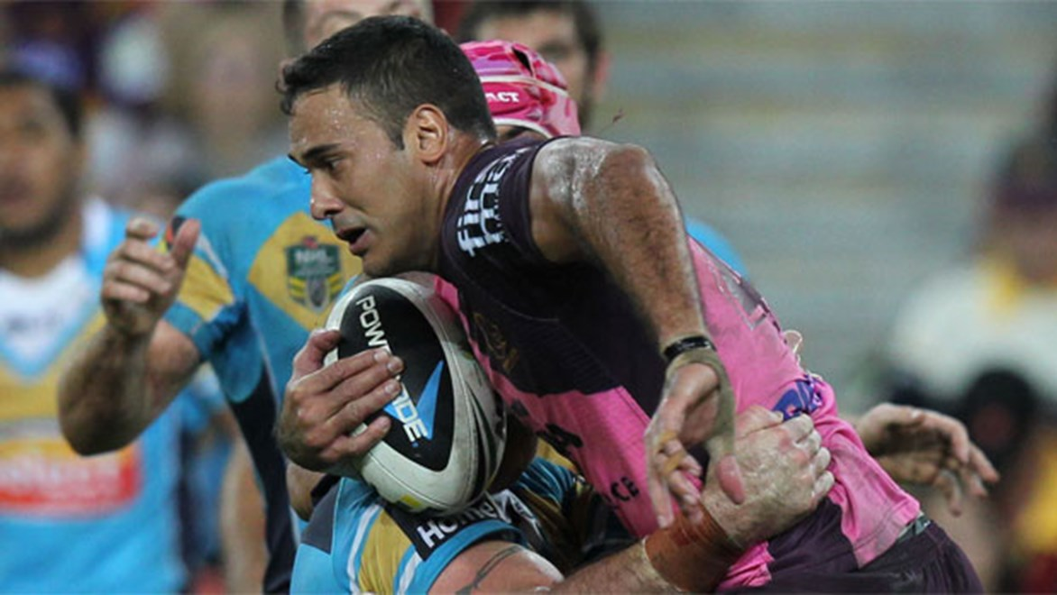 Justin Hodges played strongly before leaving the field injured on Friday night.