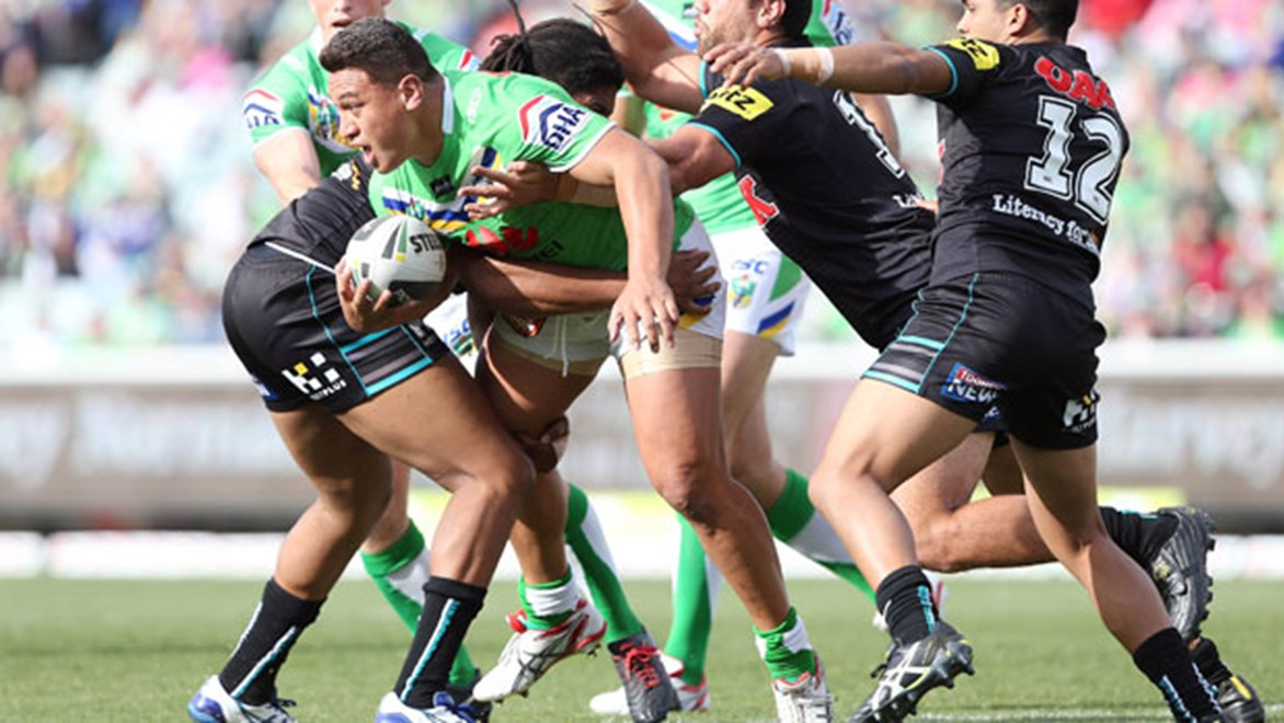 Raiders back-rower Josh Papalii in action against the Penrith Panthers.