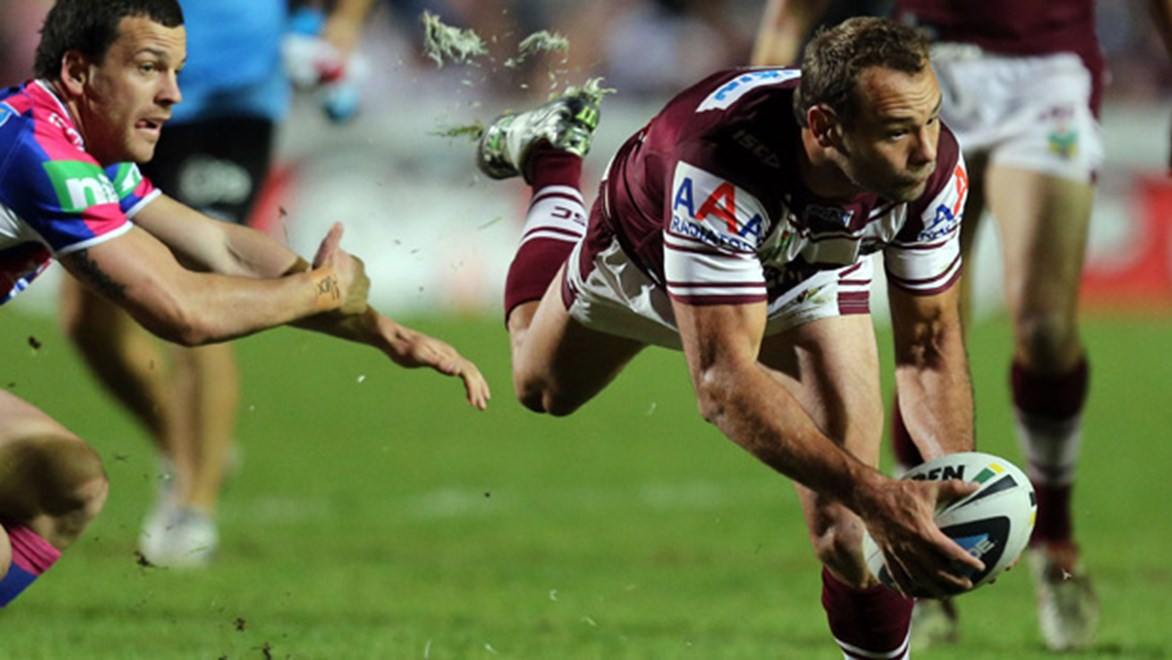 Brett Stewart in action during the Sea Eagles' thrilling 15-14 win over the Knights at Brookvale Oval.
