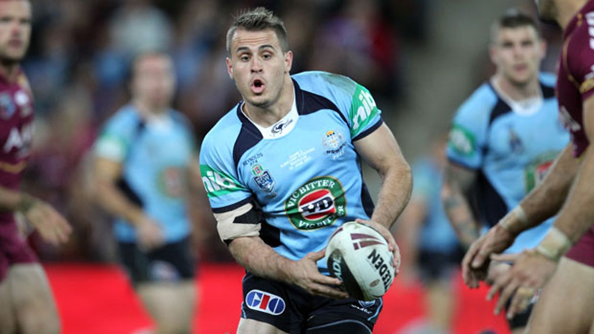 NSW halves Josh Reynolds (pictured) and Trent Hodkinson have run the ball more at club level in 2014 than their Maroons counterparts.