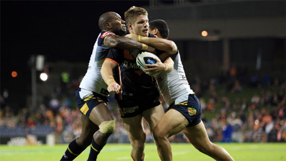Campbelltown boy Chris Lawrence in action in the Tigers' win over the Cowboys in April.