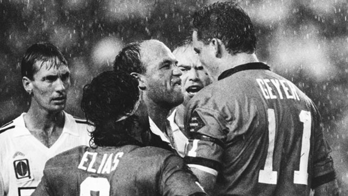To this day Mark Geyer can't explain why no punches were exchanged during his iconic confrontation with Wally Lewis in Game Two, 1991.