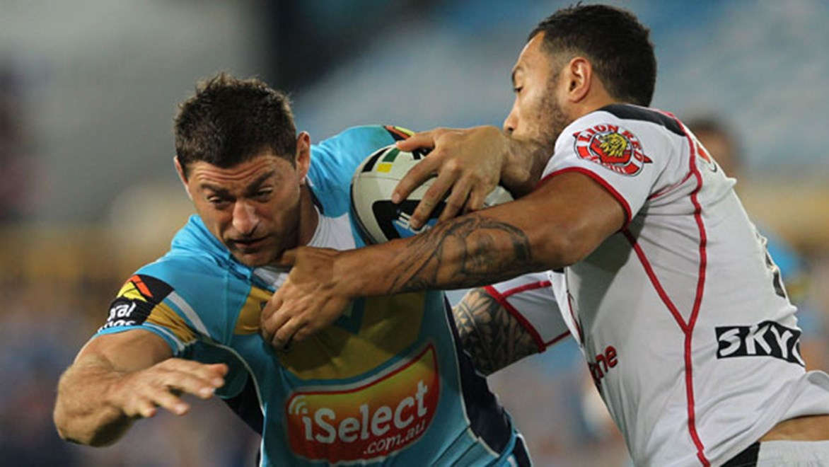Titans players such as Mark Minichiello saw precious little of the ball in the second half as the Warriors finished over the top of them.