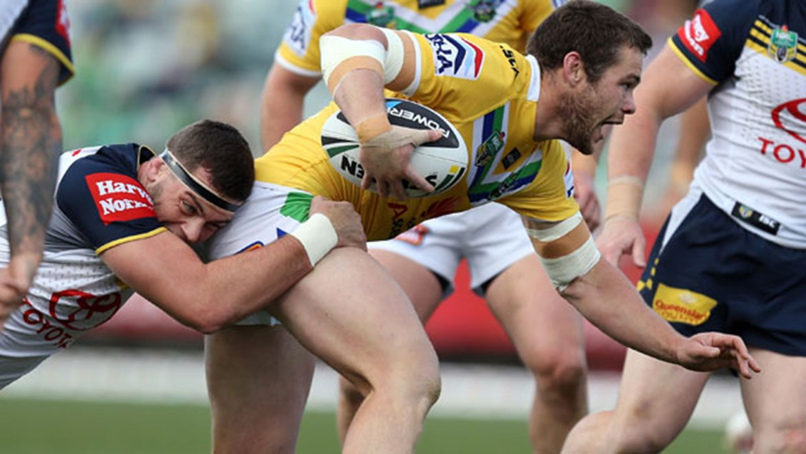 Raiders forward Shaun Fensom takes a hit-up against the Cowboys on Sunday in Canberra.