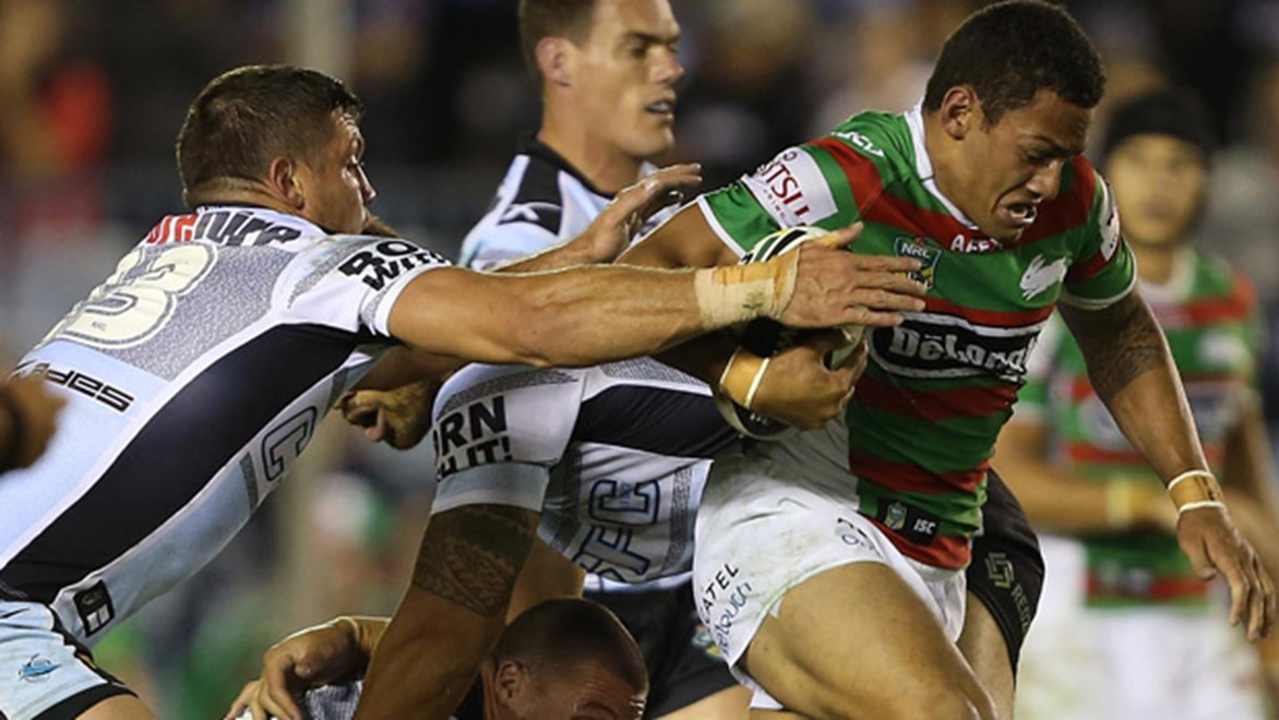 Apisai Koroisau in action for the Rabbitohs during their Round 11 clash with the Sharks at Remondis Stadium.