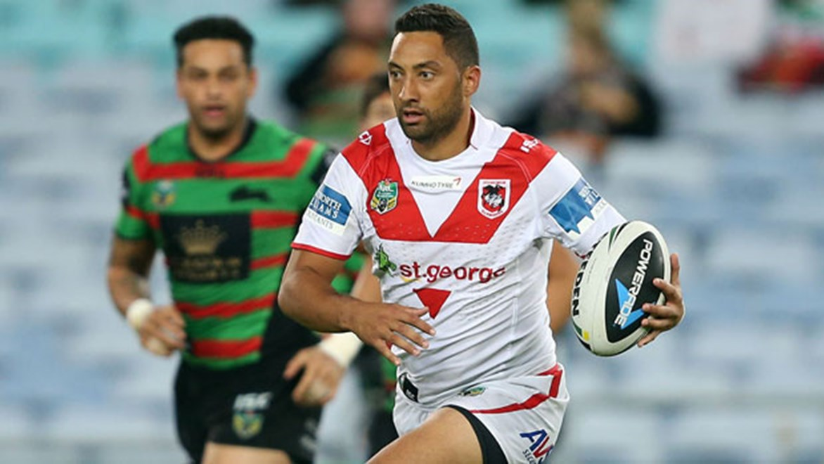 Dragons playmaker Benji Marshall shapes to pass against the Rabbitohs on Monday night.