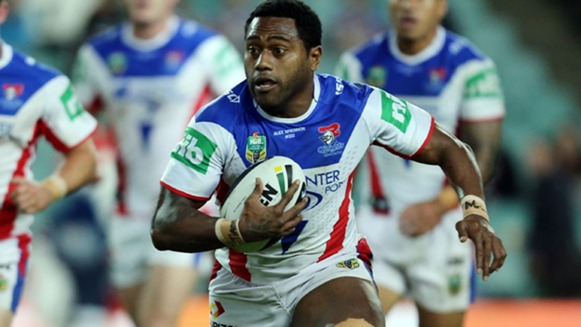 Akuila Uate in action for the Knights during their Round 14 clash with the Roosters at Allianz Stadium.